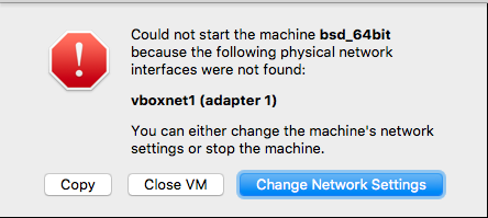 VirtualBox: Could Not Start the Machine, Physical Network